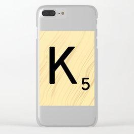 Scrabble K Decor, Scrabble Art, Large Scrabble Tile Initials Clear iPhone Case