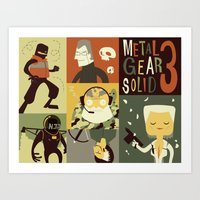 metal gear solid Art Prints featuring Metal Gear Solid: Snake Eaters by Judge Bockman