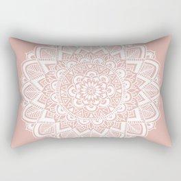 Boho White Mandala on Rose Gold Rectangular Pillow