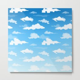 Midday Ombré Sky and Clouds Print Metal Print