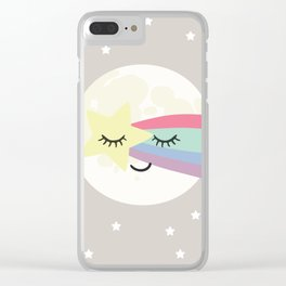 Moon art print, shooting star art print, girls wall art, grey nursery, kids wall art, rainbow art Clear iPhone Case