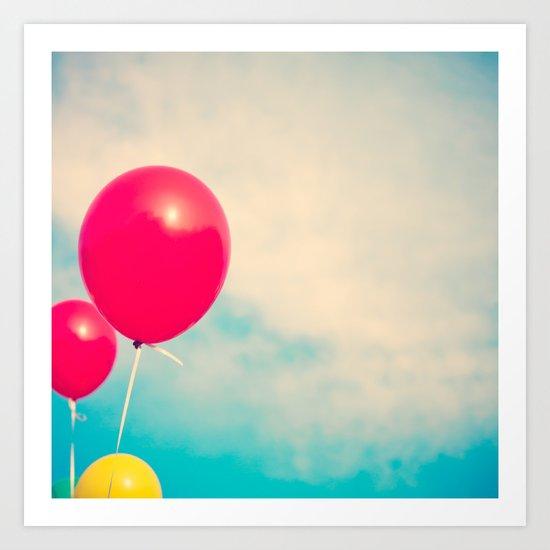 High (Red balloons) Art Print