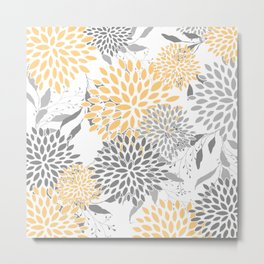 Floral Prints,  Leaves and Blooms, Gray and Yellow Metal Print