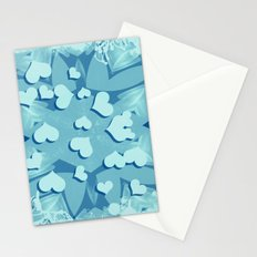 Grunge floating hearts in blue Stationery Cards