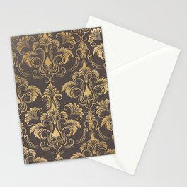 Gold foil swirls damask #10 Stationery Cards
