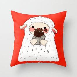 Chocolate Lamb Throw Pillow