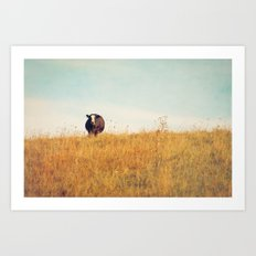 Moooo -- Autumn Landscape -- Cow in a Pasture Art Print