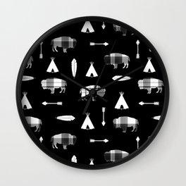 Buffalo Tribe on Black Wall Clock