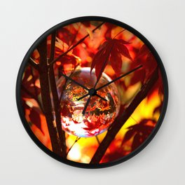 Red autumn foliage in the world of a globe Wall Clock