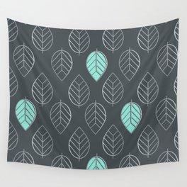 Mint & Silver Leaves Pattern & Slate Wall Tapestry
