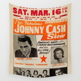1967 Johnny Cash, Carter Family, Carl Perkins at Springfield Shrine Mosque Concert Poster Wall Tapestry