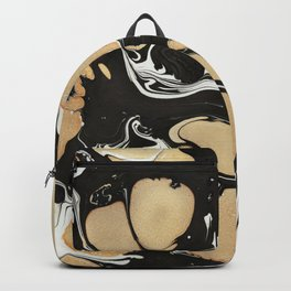Black and Gold paint marble Backpack