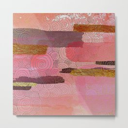 Abstract Mixed Media: Pink & Coral With Glitter Metal Print