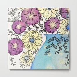 Abstract Metallic Bouquet 0f Flowers Metal Print