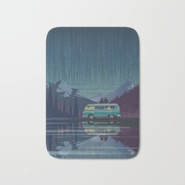Retro Camping under the stars Bath Mat