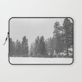 Snow Days // Snowy Tree Black and White Winter Landscape Photography Ski Snowboard Woods Wall Decor Laptop Sleeve