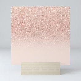 Rose gold faux glitter pink ombre color block Mini Art Print