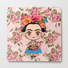 Frida cartoon roses Metal Print