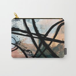 It comes and goes [2] - a black and white abstract mixed media piece with pink details Carry-All Pouch