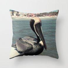 Florida Pelican Color Photo Throw Pillow