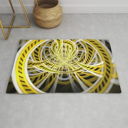 Yellow Tape Roller Coaster Ride on Fractal Rails Rug