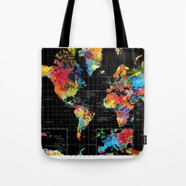 World Map Black - 1 Tote Bag