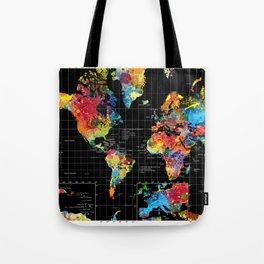 World Map Black - 1 Tote Bag