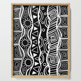 Four Waves - Freestyle Tribal Doodle Design - Black Serving Tray