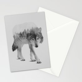 Wolf In The Woods (black & white version) Stationery Cards