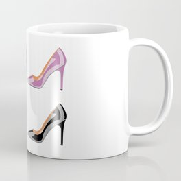 High heel shoes in black, serenity blue and bodacious pink Coffee Mug
