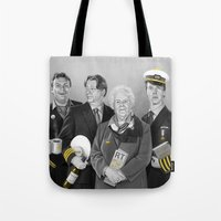 cabin pressure Tote Bags featuring Cabin Crew by tillieke