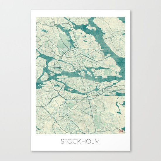 Stockholm Map Blue Vintage Canvas Print
