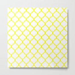 Moroccan Trellis (Yellow & White Pattern) Metal Print