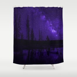 Milky Way Over Fire Hole Lake Shower Curtain