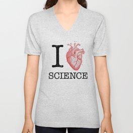 I Love Heart Science T Shirt - Biology Tee Tshirt Teacher Unisex V-Neck
