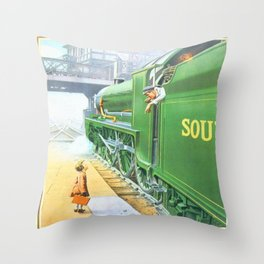 Little Girl and a Train Throw Pillow
