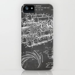 Airplane Jet Engine Patent - Airline Engine Art - Black Chalkboard iPhone Case
