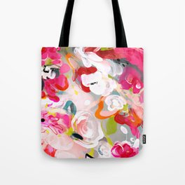Dream flowers in pink rose floral abstract art Tote Bag