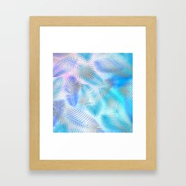 Watercolor and Silver Feathers on Watercolor Background Framed Art Print