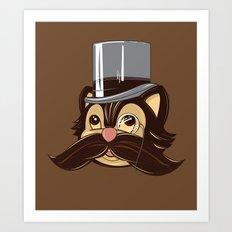 Cat and Moustache Art Print