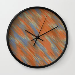 blue orange and brown painting abstract background Wall Clock