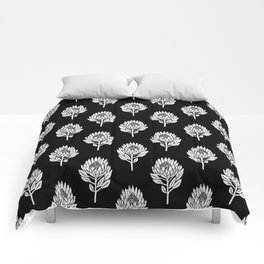 Linocut Protea flower printmaking pattern black and white floral Comforters