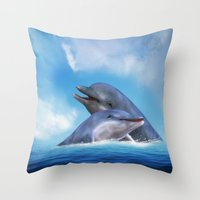 dolphins Throw Pillows featuring Dolphins by Susann Mielke