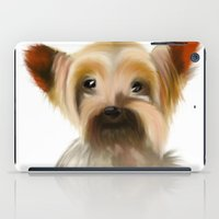 yorkie iPad Cases featuring Yorkie Puppy on White  by barefoot art online
