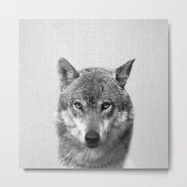 Wolf - Black & White Metal Print