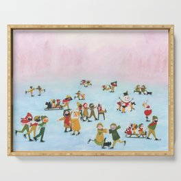 A Cold winter day - A Illustration of people spending there day iceskating Serving Tray
