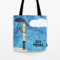 iggy Tote Bags featuring Iggy Poppins by Levedad