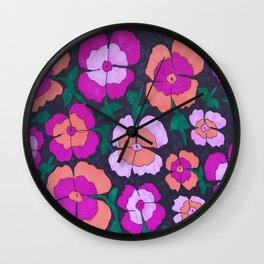 Summery Floral Garden Print Wall Clock
