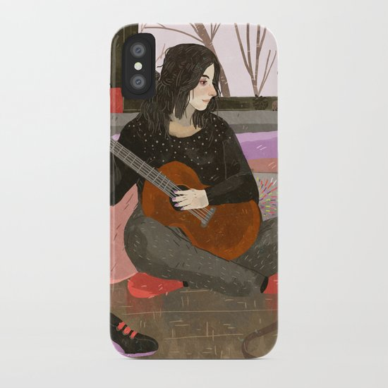 girl with guitar iPhone Case