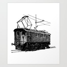 Old City Tram Carriage Detailed Illustration Art Print